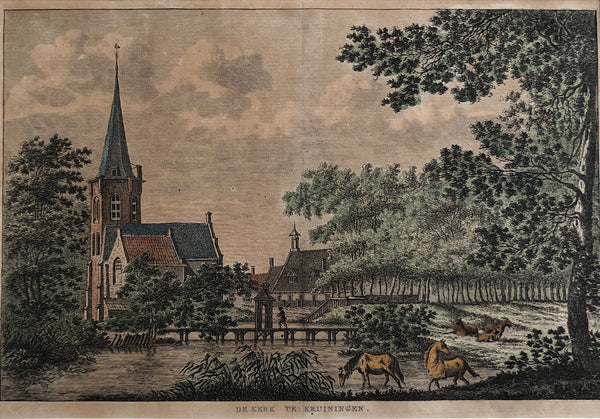 'De kerk te Kruiningen'. Handcoloured engraving by K.F. Bendorp after Jan Bulthuis. Published in 1793.