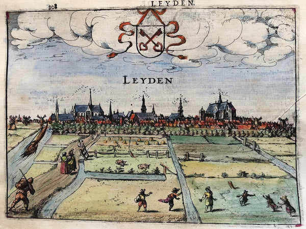 Leiden, Leyden, Holland, engraving, city view, print,  print of Leiden, antique print, guicciardini, profile, view, dutch