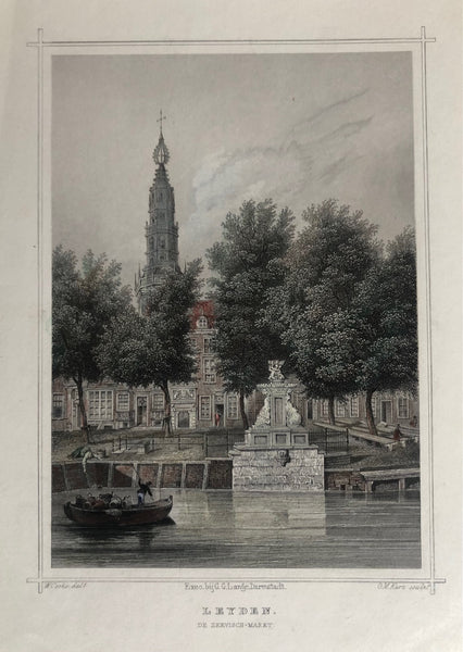Leiden, vismarkt, old print, antique print, leyden, holland, engraving, gravure, prent leiden, oude prent, antiek prent, city view, kerk, church, fountain, colour, zeevischmarkt