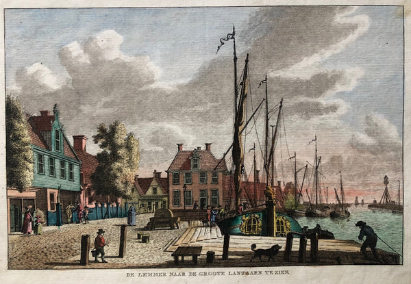 old print, antique print, engraving, gravure, oude prent, antieke prent, friesland, ships, boats, village, holland, dutch, scheepvaart, colour, bulthuis