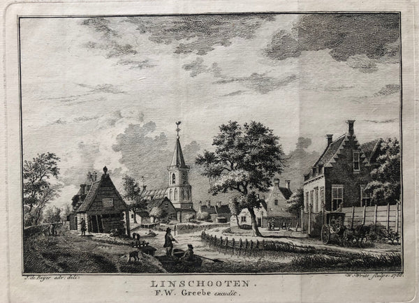 engraving, old print, antique print, oude prent, original, antieke prent, linschoten, woerden, utrecht, beyer, city, view, village, rural, boat, horse, fisher, visser, kerk, church, linschooten