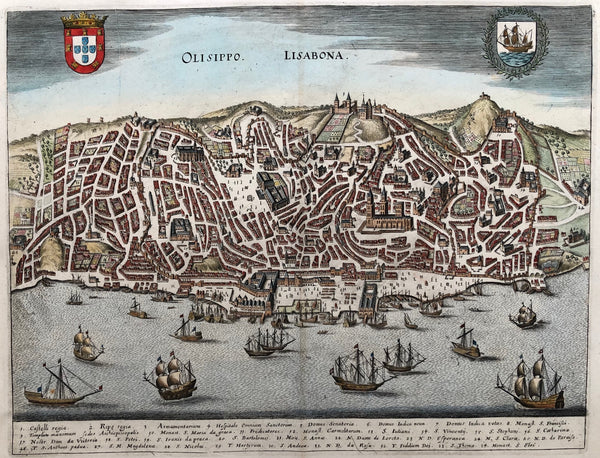 old map, antique print, antique map, engraving, lisbon, lisboa, lissabon, portugal, view, panorama, colour, city, original, merian