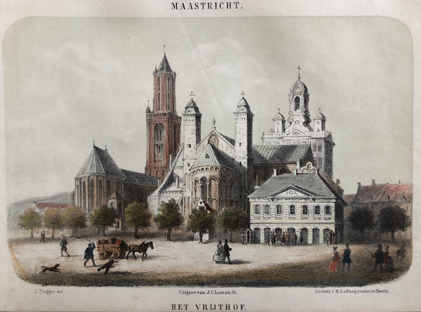 limburg, maastricht, vrijthof, serveas, sint jan, hoofdwacht, old print, antique print, lithograph, colour