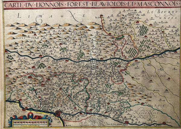 "Carte du Lionnois, Forest, Beauiolois et Masconois"". Nice rare regional map of the Lyon, Forest, Beaujolais and Macon region, oriented with south at the top."