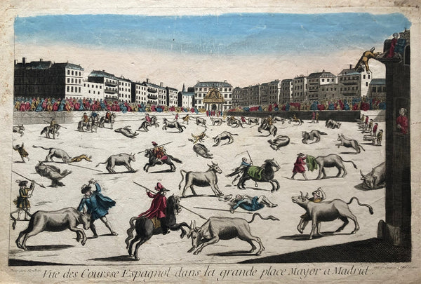 old print, antique print, madrid, oude prent, antieke prent, bullfighting, spain , spanje, toreo, tauromaquia, optica prent, optique, engraving, plaza mayor, stierengevecht, gravure