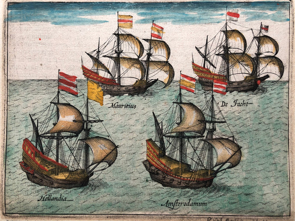 ships, indonesia, mauritius, maurits, houtman, expedition, voc, hollandia, engraving, colour, print, antique print, duyfken , jacht, amsterdam, amsterodamum