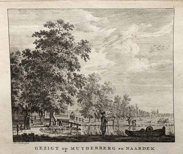 'Gezigt op Muyderberg en Naarden'. Very rare engraving by Hermanus Schouten from ca. 1760