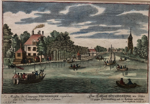 old print, antique print, oude prent, antieke prent, gravure, engraving, loenen, holland, vecht, croonenburg, cronenburg, nieuwerhoek, buitenplaats, loenen aan de vecht, vechtstreek, engelbrecht, augsburg