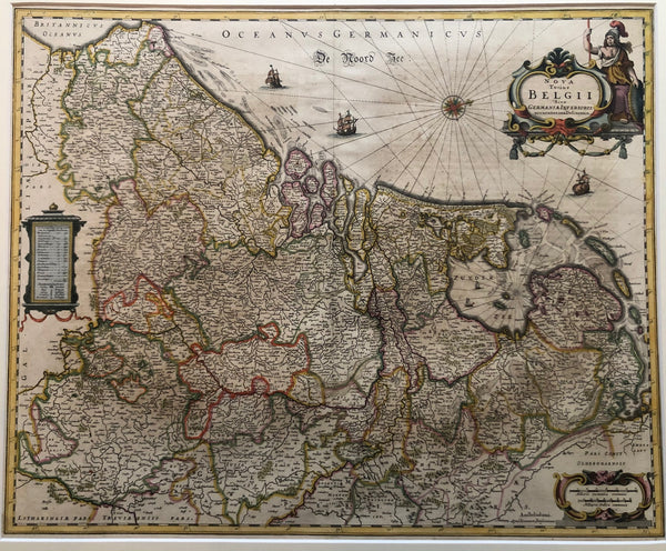Belgium, Holland, low countries, map, old map, XVII provinces, netherlands, oude kaart, antieke kaart, lage landen, zeventien provincien, provincies, luxemburg, gravure, janssonius, amsterdam, zuiderzee, noordzee, netherlands, antique map, engraving, coloured, ships,
