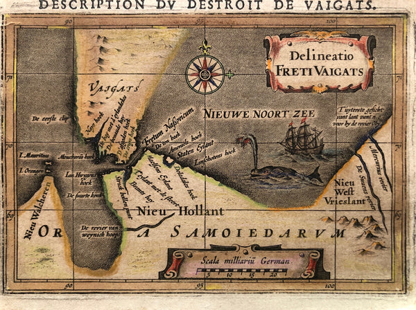engraving, map, miniature map, old map, nova zembla, new holland, freti vaigats, keere, antique map, thresoor, keerius
