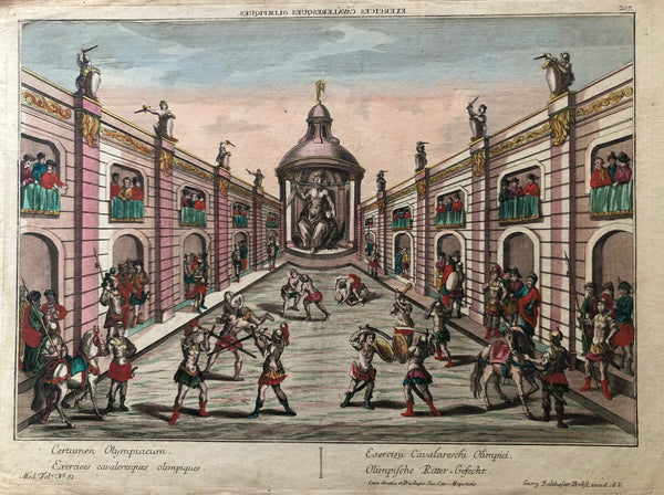 olympic, olympic games, fighting, exercise, roman, engraving, colour, tournament, antique print, old print, optical print, probst, augsburg, oude prent, gravure, oefening,romeinse strijders, ridder gevechten,opticaprent, Exercices cavaleresques olimpiques