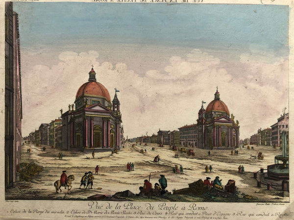 Rome, roma, italy, italia, piazza, popolo, old print, antique print, engraving, optique, perspective, view, leizelt, augsburg, colour, monte santo, ripatta,