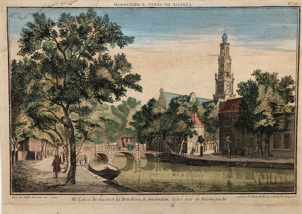 Amsterdam, antique print, old print, engraving, optical, optique, westerkerk, keizersgracht, canal, church, holland, coloured