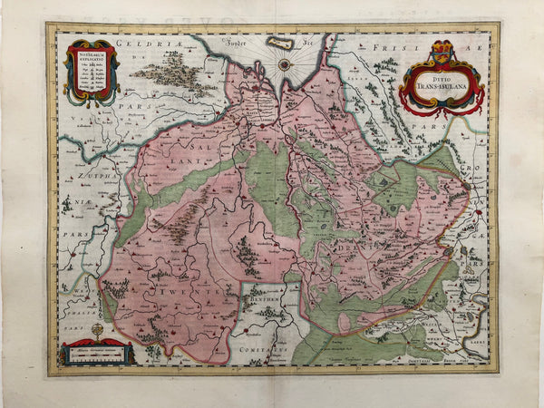 'Ditio Trans - Isulana' . Very nice map of Overijssel.Engraving, strong impression with nice colouring. Published by Johannes Janssonius in ca. 1650