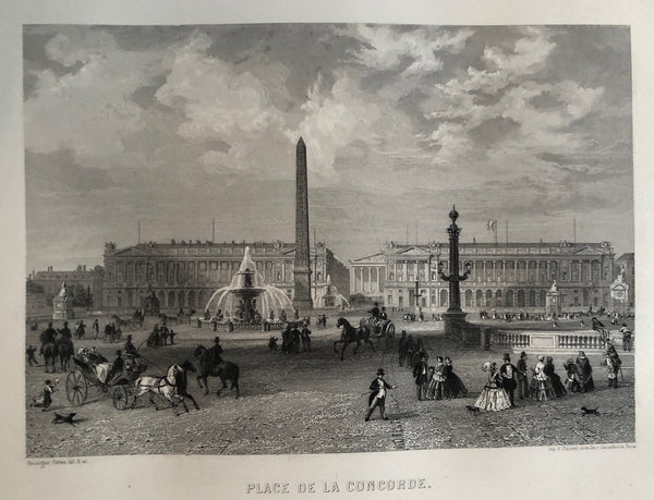 old print, antique print, engraving, paris, france, place, concorde, place de la concorde