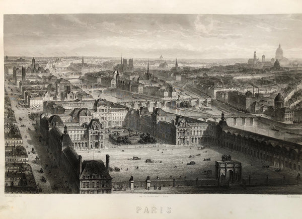Nice view of Paris with landmarks as Sacre Coeur, Notre Dame and the Seine. Steelengraving by Willmann after Ad. Rouargue from 1857