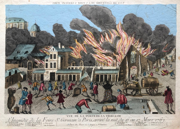 paris, parijs, old print, antique print, view, oude prent, prent parijs, fire, fire fighting, incendie, st. germain, optique, colour, optical print, engraving, gravure, antieke prent, city view,