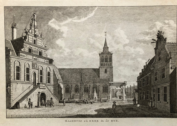Raadhuis en Kerk in de Ryp. Nice engraving of this village De Rijp that Leeghwater called 'the best village of Holland'