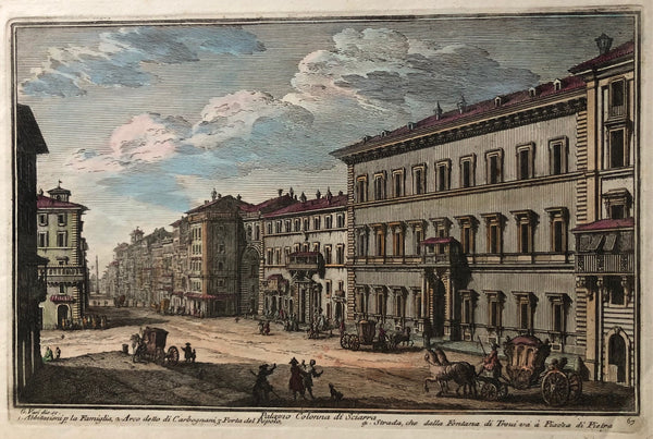 'Palazzo Colonna di Sciarra' . Handcoloured engraving by Guiseppe Vasi showing Palazzo Colonna in Rome. From the series 'Delle magnificenze di Roma antica e modern