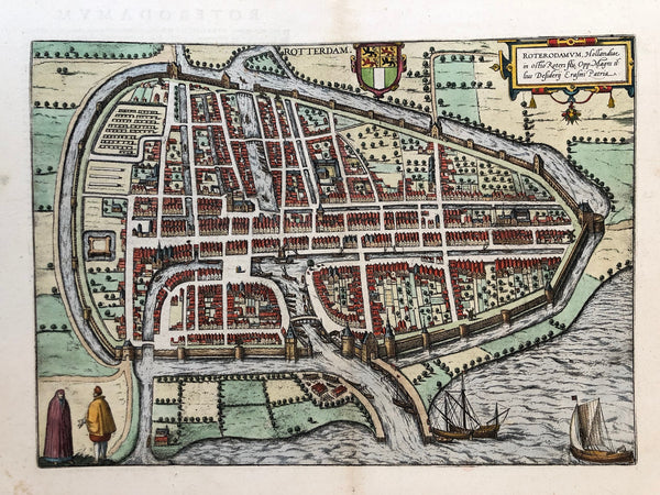 Rotterdam, roterodamum, braun, hogenberg, map, plan, city, antique map, antique plan, townplan, engraving, colour