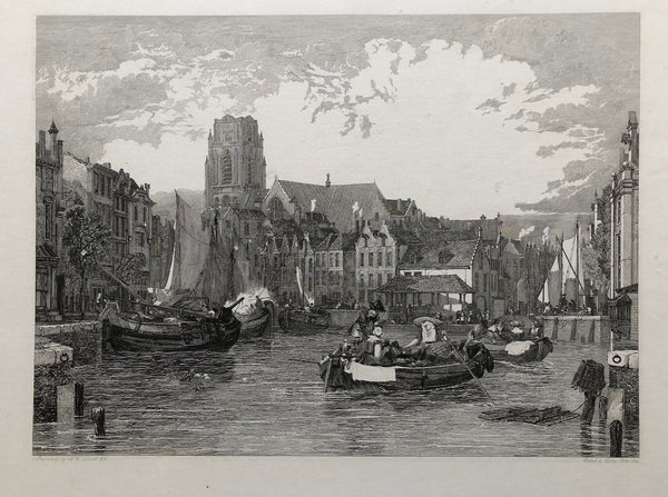View of the Grote Kerk, Rotterdam, with figures and boats in the foreground.  Nice , rare engraving from 1824 by George Cooke after the painting by Sir Augustus Wall Callcott.
