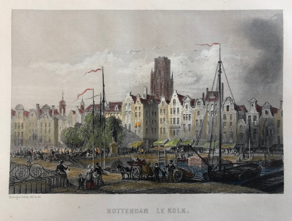 rotterdam, kolk, old print, antique print, engraving, colour, haven, laurenskerk