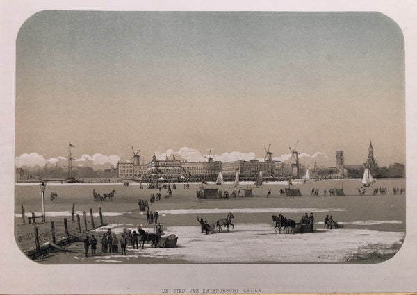 Rotterdam, winter, ice, skating, katendrecht, lithograph, old print, antique print,city view, dutch,holland