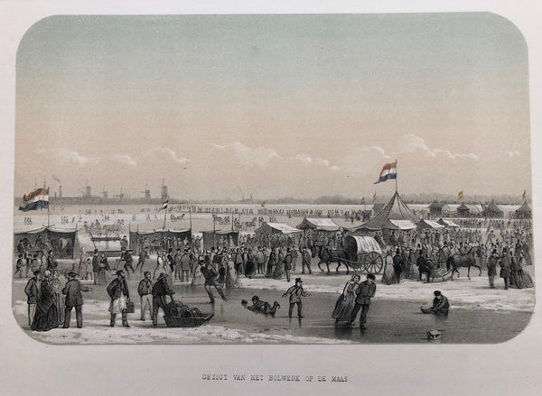 winter, skating, ice, rotterdam, view, old print, antique print, lithograph, dutch, city view, bolwerk, maas