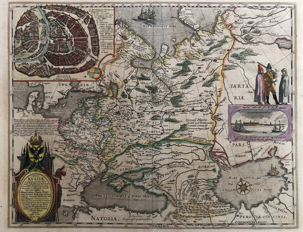 Tabula Russiae ex autographo, quid delineandum curavit....' This contemporary handcoloured engraving is a map published by Blaeu in ca. 1630