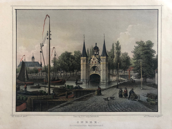 'Sneek, Hoogeindster Waterpoort'. Nice handcoloured steelengraving. Engraved by A.J. Terwen after L. Rohbock.