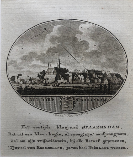 'Het Dorp Spaarendam' .Nice, small oval engraving showing the village Spaarndam in Holland