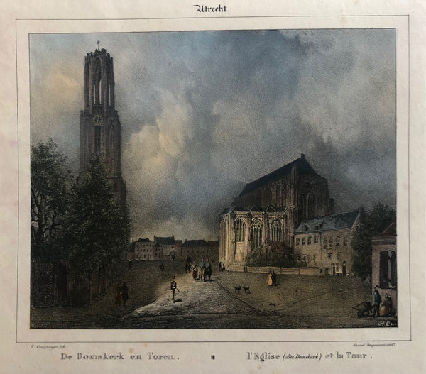 De Domskerk en Toren = l'Eglise (dite Domskerk) et la Tour' . Nice view at the Domtoren. Contemporary handcoloured lithograph by Reinier Craeyvanger, printed by Desguerrois & Co.