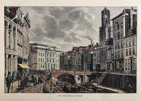 utrecht, oude gracht, old print, antique print, original, engraving, view, city view, canal, holland, dutch, domtoren, domtower