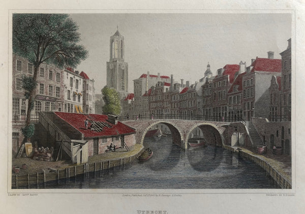 utrecht, oude gracht, dom, domtoren, old print, antique print, engraving, batty, jennings, colour, dutch, canal, tower, domtower