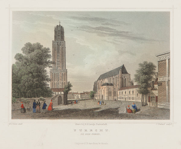 Utrecht, domtoren, engraving, old print, antique print, holland, colour,city view