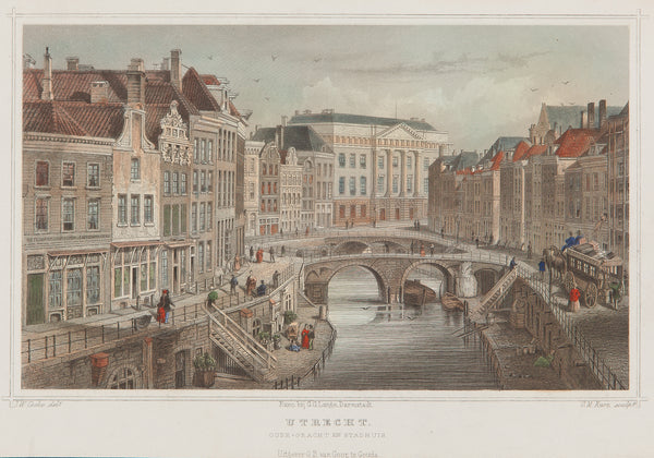 utrecht, oude gracht, stadhuis, old print, antique print, engraving, colour, city view, canal, holland, dutch