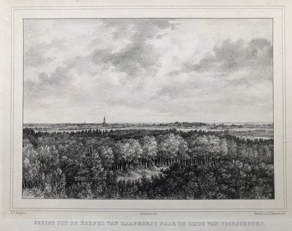 Gezigt uit de koepel van Raaphorst naar de zijde van Voorschoten'  Nice view at Voorschoten (between Leiden en The Hague). Lithograph by J.D. Steuerwald after P.J. Lutgers published in 1846