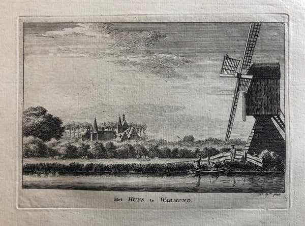 Holland, Warmond, Oegstgeest, Leiden, city view, antique print, old print, engraving, oude prent, antieke prent, huis warmond, spilman, windmill, landscape, landschap, huys te warmond