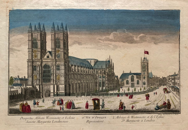 old print, antique print, london, londen, westminster, westminster abbey, view, city, oude prent, antieke prent, prent londen, prent london, engraving, optical, daumont,gravure