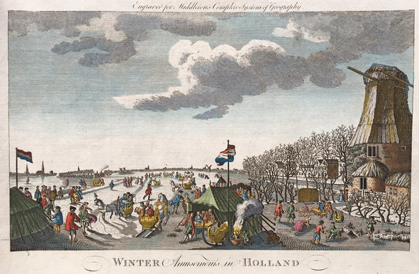 "Antique print ""Winter Amusements in Holland"". Handcoloured engraving, published in Middleton's Complete System of Geography. Nice dutch winterscene with people skating , sleighs, mill etc."