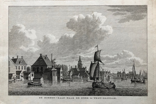 De Binnen - Zaan naar de Kerk te West - Zaandam. Very nice engraving showing the river 'Zaan' with boats, a church and a windmill in the background