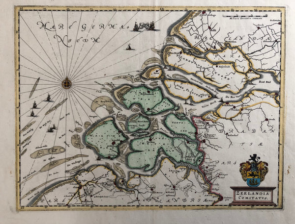 old map, antique map, oude kaart, originele kaart, antieke kaart, zeeland, zeelandia, merian, engraving, beijerland, den briel, brouwershaven, zierikzee, goes, beveland, tolen, middelburg, roompot, banjaerd, biesbos, wielinge