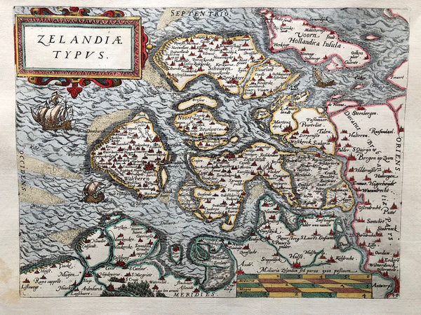 'Zelandiae Typus'. Nice decorative map of Zeeland by Guicciardini. Published by Plantijn in 1581. Sharp impression with nice, later, colouring