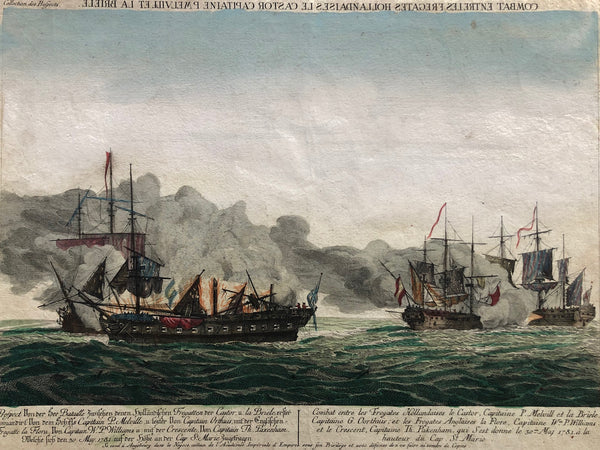 battle, sea battle, english, war, dutch, castor, brielle, melville, cadiz, engraving, optical print, antique print, colored, old print