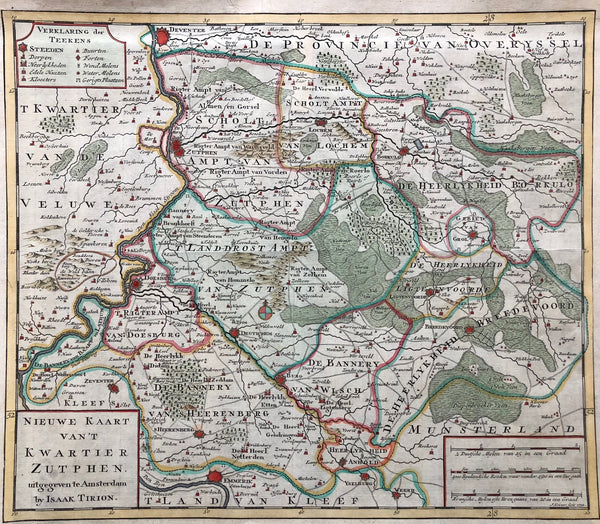 map, antique map, zutphen, engraving, tirion,kwartier, ambt, Zelhem, Lochem, Gorsel,Deventer, Delden, Bronkhorst, Doesburg, Eibergen