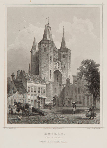 Holland, zwolle, antique print, engraving, old print, city view, gate, sassenpoort, sassen gate