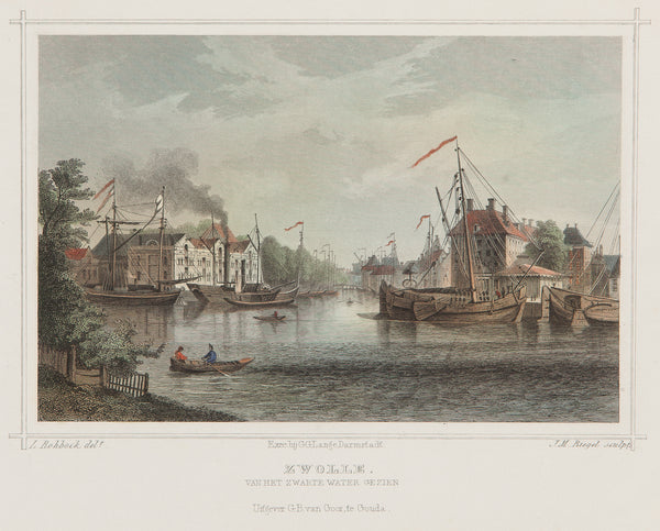 zwolle, gelderland, zwarte water, old print, antique print, engraving, holland, ships, boats, dutch, city view, colour