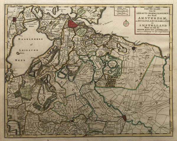 map, amsterdam, amstelland, kennemerland, antique map, old map, muiden, weesp, naarden, haarlem, haarlemmer meer, pampus, houtrak, engraving, coloured