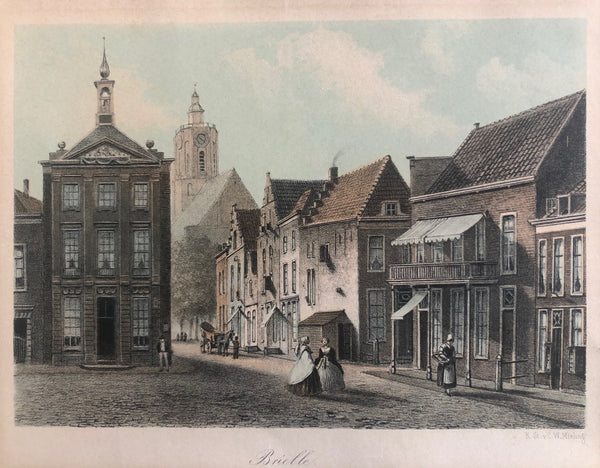 brielle, briel, holland, voorne, old print, antique print, lithograph, original, den briel, oude prent, antieke prent, mieling
