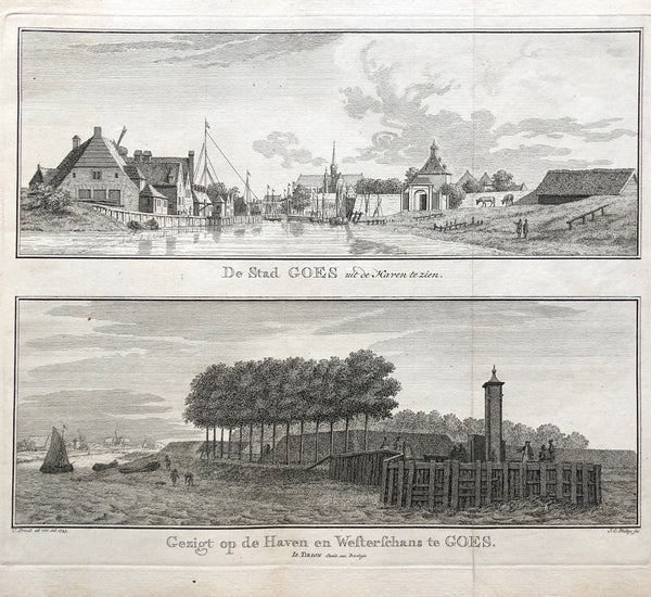 """De Stad GOES uit de Haven te zien. - Gezigt op de Haven en Westerschans te Goes'  Two views on one sheet showing Goes seen from the north. The harbour is the 'Nieuwe Haven' . Engraving by Cornelis Pronk after J.C. Philips."